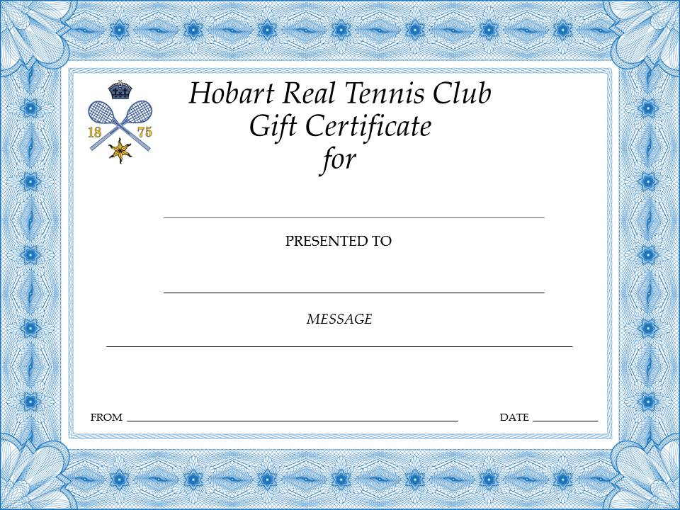 Gift Certificates Hobart Real Tennis Club