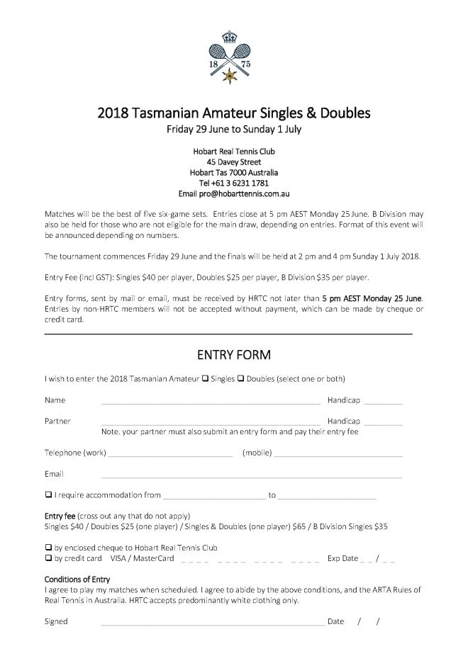 2018 Tasmanian Amateur Singles & Doubles Entry Form